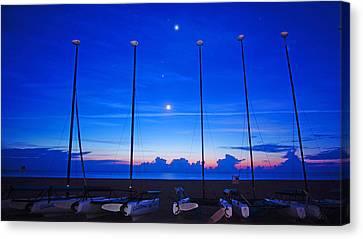 Sunrise Catamarans Moon Planets Canvas Print