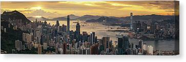 Sunrise Day To Night Shot Over Victoria Harbor  Canvas Print