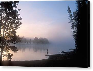 Sunrise Fishing In The Yellowstone River Canvas Print by Michael S. Lewis