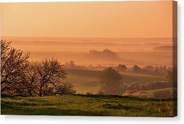 Canvas Print featuring the photograph Sunrise Foggy Valley by Jenny Rainbow