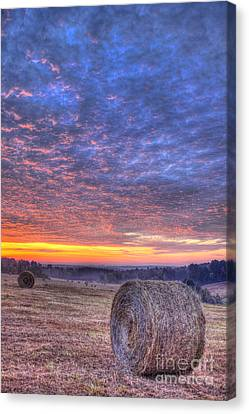 Sunrise Hayfield And A View Walker Church Road Canvas Print by Reid Callaway
