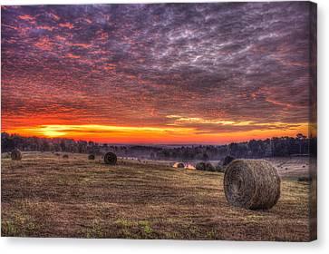 Sunrise Hayfield Walker Church Road Valley Canvas Print by Reid Callaway