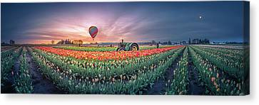 Canvas Print featuring the photograph Sunrise, Hot Air Balloon And Moon Over The Tulip Field by William Lee