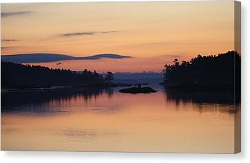 Canvas Print featuring the photograph Sunrise In Blue Hill IIi by Greg DeBeck