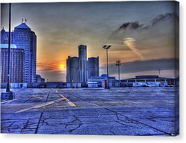 Sunrise In Detroit Mi Canvas Print by Nicholas  Grunas