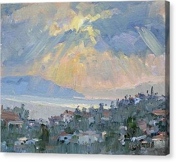 Athens Canvas Print - Sunrise In Dhilesi Athens  by Ylli Haruni