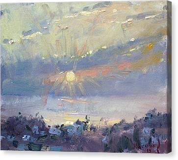 Athens Canvas Print - Sunrise In Egey Sea Greece by Ylli Haruni