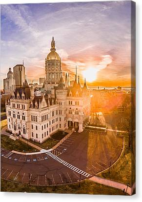 Sunrise In Hartford Connecticut Canvas Print by Petr Hejl