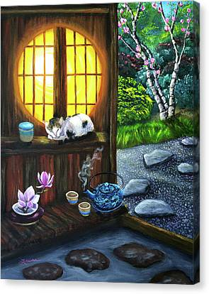 Sleeping Cat Canvas Print - Sunrise In Moon Window by Laura Iverson