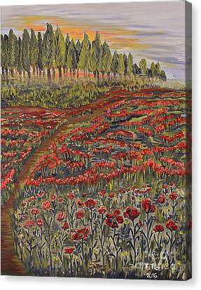 Sunrise In Poppies Field Canvas Print by Felicia Tica