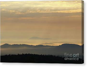 Sunrise In The Mountains - Hills In Morning Mist Canvas Print by Michal Boubin