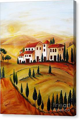 Sunrise In Tuscany Canvas Print by Christine Huwer