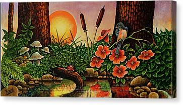 Canvas Print featuring the painting Sunrise by Michael Frank
