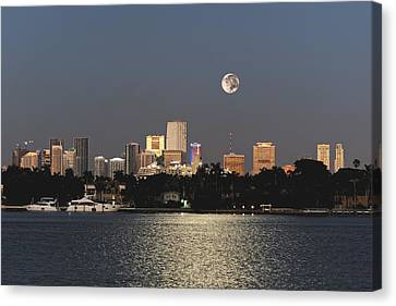 Canvas Print featuring the photograph Sunrise Moon Over Miami by Gary Dean Mercer Clark