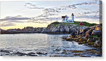 Sunrise Nubble Lighthouse - York - Maine Canvas Print by Steven Ralser