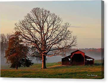 Pastureland Canvas Print - Sunrise Oak Red Barn Misty Morning by Reid Callaway