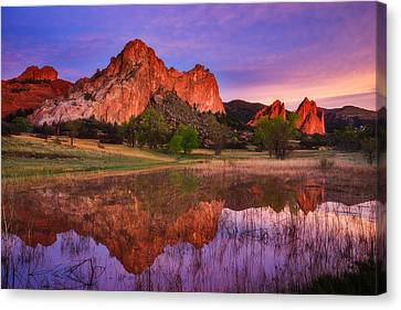 Sunrise Of The Gods Canvas Print by Darren  White
