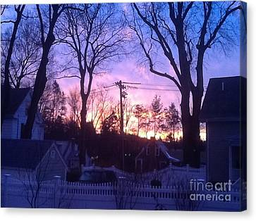 Mystic Setting Canvas Print - Sunrise On A Cold Fall Morning by Gina Sullivan
