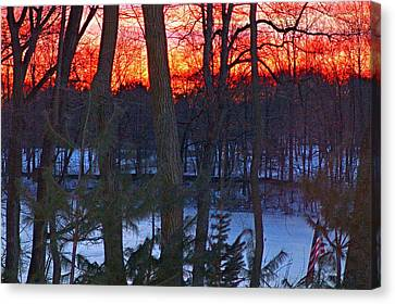 Sunrise On Farrington Lake Canvas Print by Aron Chervin