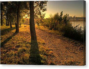 Sunrise On Kaw Point Canvas Print by Don Wolf