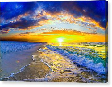 Canvas Print featuring the photograph Sunrise On Ocean Waves Beautiful Orange Sunrise by Eszra Tanner