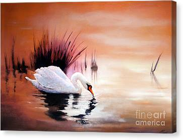 Sunrise On Swan Lake Canvas Print by Michael Rock