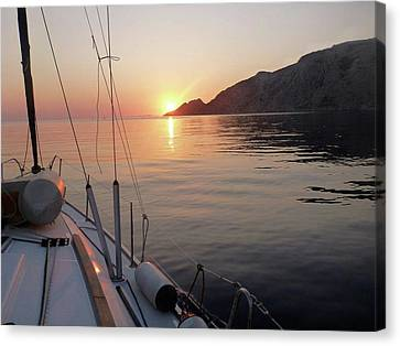 Sunrise On The Aegean Canvas Print by Christin Brodie