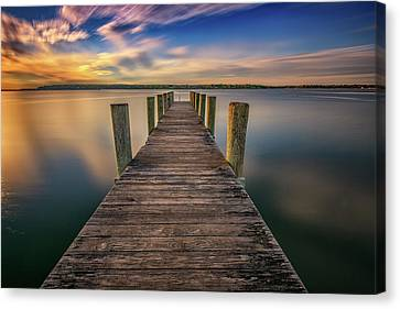 Sunrise On The Dock By The Peconic River Canvas Print by Rick Berk
