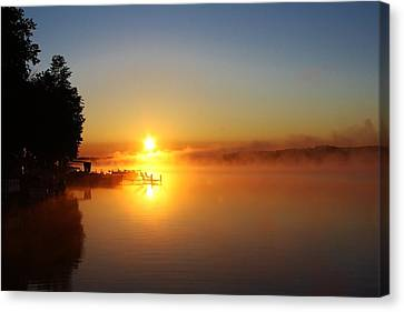 Sunrise On The Lake 2 Canvas Print by Bruce Bley