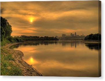 Sunrise On The Missouri River Canvas Print by Don Wolf