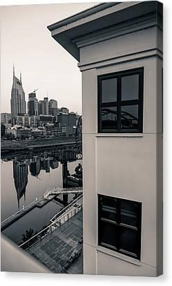 Sunrise On The Nashville Tennessee Skyline - Black And White Canvas Print