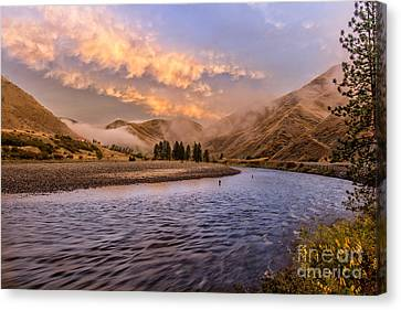 Sunrise On The Salmon Landscape Art By Kaylyn Franks Canvas Print by Kaylyn Franks