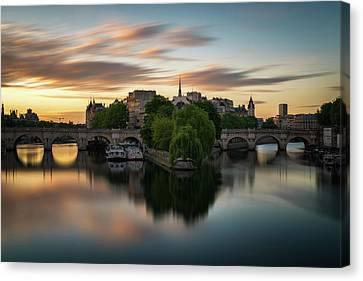 Sunrise On The Seine Canvas Print