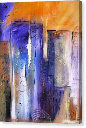 Sunrise On Twin Towers Canvas Print by Gary Smith