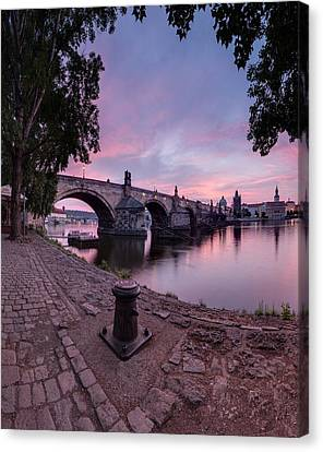 Sunrise Over Charles Bridge Canvas Print by Ondrej Tichy