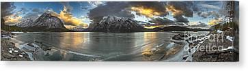 Sunrise Over Deep Emerald Ice Canvas Print by Royce Howland