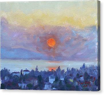 Athens Canvas Print - Sunrise Over Dilesi Athens by Ylli Haruni