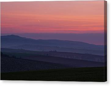 Canvas Print featuring the photograph Sunrise Over Hills Of Moravian Tuscany by Jenny Rainbow