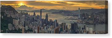 Tsui Canvas Print - Sunrise Over Hong Kong And Kowloon City by Anek Suwannaphoom