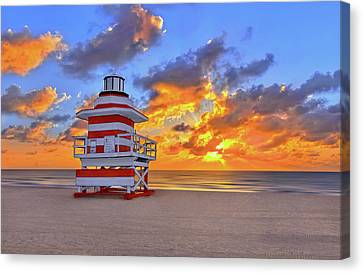 Sunrise Over Lifegaurd Stand On South Miami Beach  Canvas Print by Justin Kelefas