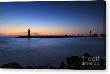 Sunrise Over Lighthouse - Beautiful Seascape Canvas Print by Mohamed Elkhamisy