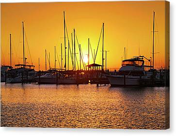 Canvas Print featuring the photograph Sunrise Over Long Beach Harbor - Mississippi - Boats by Jason Politte