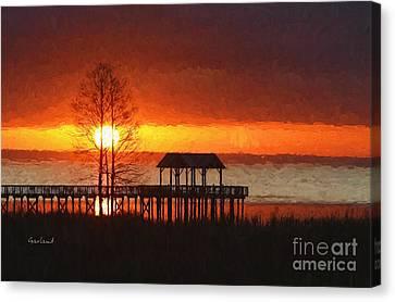 Sunrise Over Mobile Bay, Alabama Canvas Print by Garland Johnson
