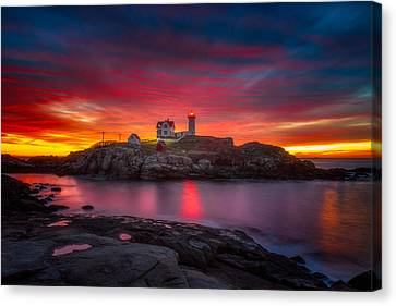 Sunrise Over Nubble Light Canvas Print by Darren  White