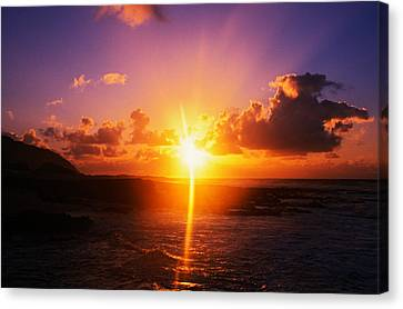 Sunrise Over Ocean, Sandy Beach Park Canvas Print by Panoramic Images