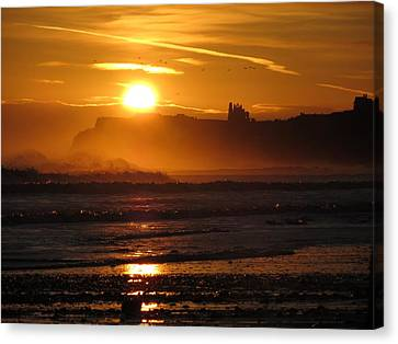 Canvas Print featuring the photograph Sunrise Over Sandsend Beach by RKAB Works