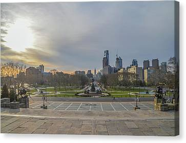 Sunrise Over The Ben Franklin Parkway Canvas Print by Bill Cannon
