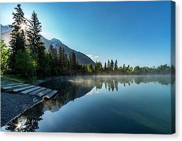 Canvas Print featuring the photograph Sunrise Over The Mountain And Through The Tree by Darcy Michaelchuk