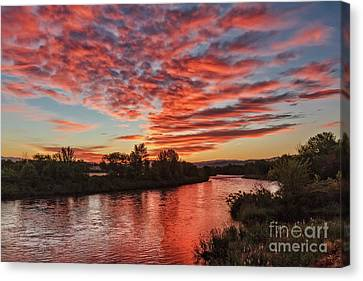 Sunrise Over The Payette Canvas Print by Robert Bales