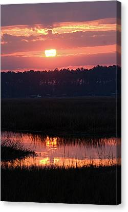 Canvas Print featuring the photograph Sunrise Over The River by Margaret Palmer